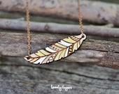 Wood native pendant - feather (laser cut)