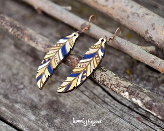 Wood native earrings - feather (laser cut)