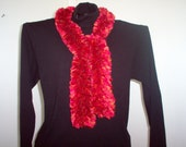 Knitted Red Heart Ribbons Red/Orange Ruffle Scarf (Fire Color)