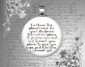 25mm JEREMIAH 29 11 glass tile pendant necklace jewelry bible quote verse mens womens teen unisex