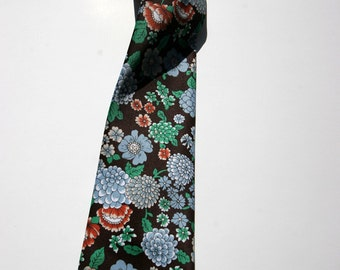 Vintage Men's Brown Floral Blue Green Necktie