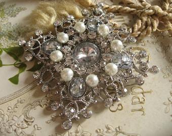 Victorian celebration Swarovski pearls and rhinestone crystals wedding bridal bridesmaids flower girls brooch pin