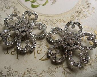 Floral love wedding Swarovski rhinestone crystal bridal bridesmaids shoes clips