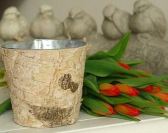 birch bark vases with zinc liner, wedding flowers pot, rustic chic wedding, wedding centerpieces, baskets, home decor