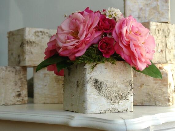 Birch bark vases wood boxes floral arrangement by aniamelisa