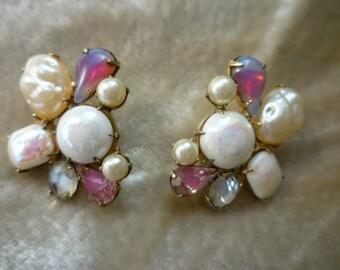 Coro Art Glass and Pearl Earrings