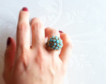 Zuni Style Pettit Point Cluster Turquoise Adjustable Ring