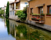 Stream through Provence, France. Water Reflections of french architecture. Black and white, sepia, color, antique, plus choose print size.
