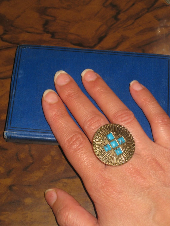 Vintage Mexican ring, Turquoise ring, vintage ring, blue ring, gold ring, copper ring, gold sun ring, Aztec ring, 70s.