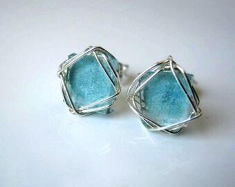 Stud Earrings,Sea Glass Colored Stud Earrings, Silver Earrings, Wire Wrapped, Aqua Glass Post Earrings, Under 25