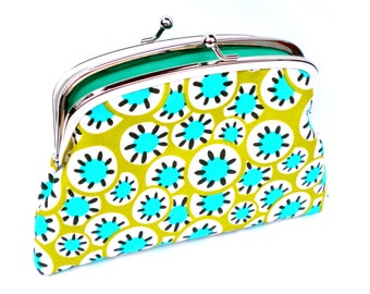 Large coin purse wallet in bright Amy Butler fabric with jade green double compartments