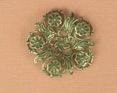 2 Splendid Very Unique Floral Filigree - Silver Plated Over Brass - 30mm - Focal Point Necklace Bracelet