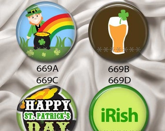 """Happy St Patrick's Day - Interchangeable Magnetic Design Inserts - FIT Clique and Magnabilities 1"""" Jewelry Bases...669"""