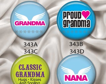 "Love Grandma - Interchangeable Magnetic Design Inserts - FIT Clique and Magnabilities 1"" Pendant Jewelry Bases...343"