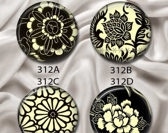 "Japanese Flowers, Black & Cream 2 - Interchangeable Magnetic Design Inserts - FIT Clique and Magnabilities 1"" Jewelry Bases...312"