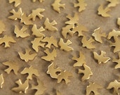 24 pc. Tiny Raw Brass Doves: 8mm by 6mm - made in USA | RB-062