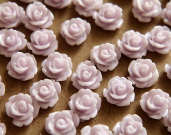 30 pc. Pale Lavender Glossy Rose Cabochon 10mm | RES-186