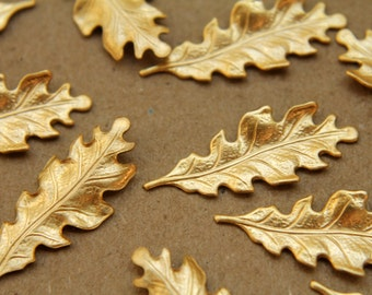 12 pc. Small Raw Brass Oak Leaves: 27.5mm by 11mm - made in USA | RB-191
