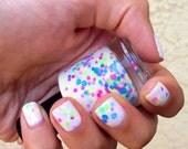 Neon glitter nail polish in white base Bright Lights