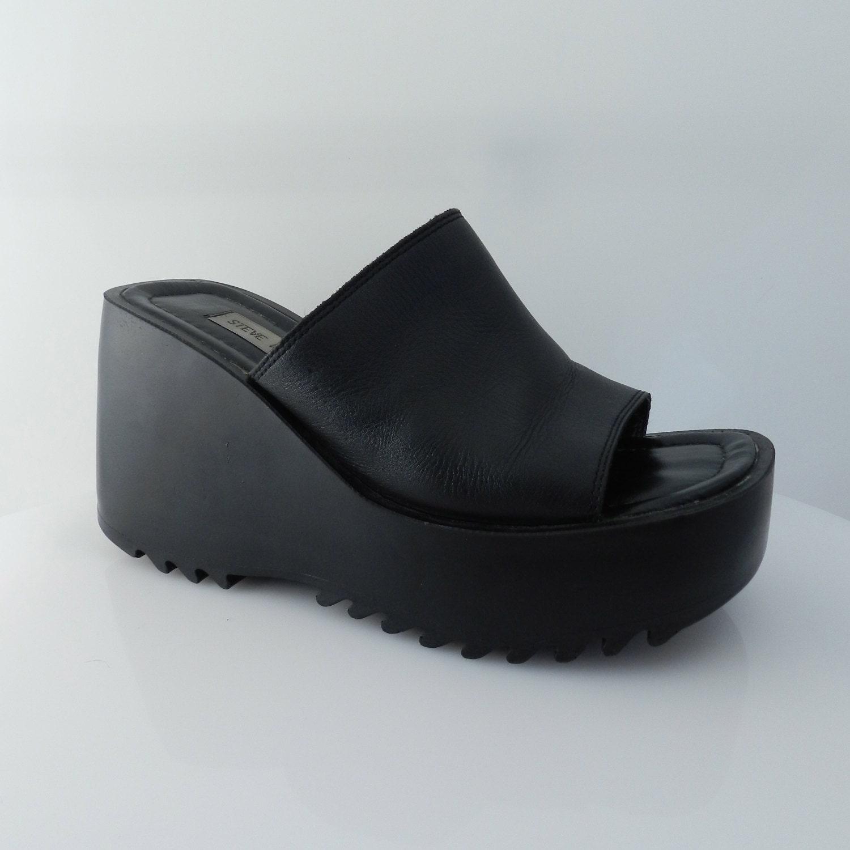 90s Black Leather Platform Wedges Slip On Sandals Size 9