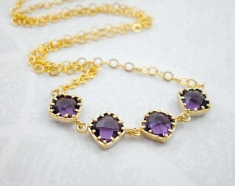 Purple Amethyst Gold Filled Necklace, Royal Purple Necklace, Wedding Jewelry, Bride Jewelry, Inv109