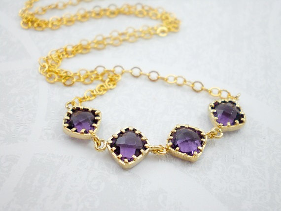 Purple amethyst gold filled necklace royal purple necklace wedding