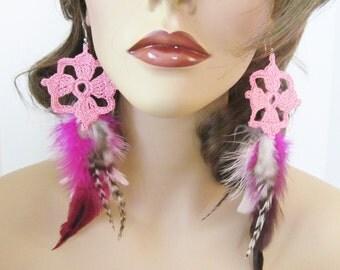 Pink Crochet Earrings