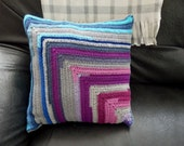 Crochet pillow cover, blue purple pink grey, with filling