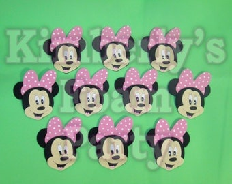 10 Minnie Mouse Pink Bow Foam Cut Outs