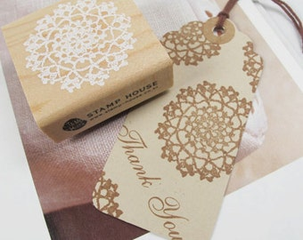 Lace Stamp - Wooden Rubber Stamp - Rubber Stamp - Roundness
