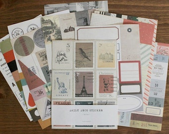 Daily Deco Sticker Set -  Retro Sticker - Diary Sticker - Deco Sticker - 12 sheets