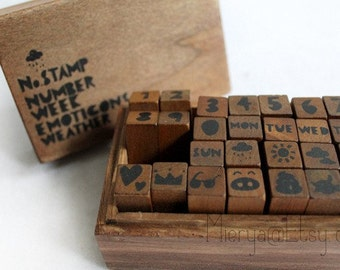 Antique Hand Drawn Number Stamp Set - Wooden Rubber Stamps - Diary Stamps - 28 Pcs