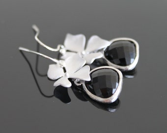 Black orchid silver earrings, silver flower earrings, wedding jewelry