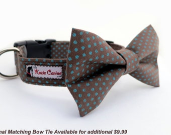 Polka Dot Dog Collar - Turquoise Polka Dots on Brown Cotton  (Dog Collar Only - Matching Bow Tie Available Separately)