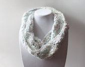 Crochet Circle Scarf in White Confetti