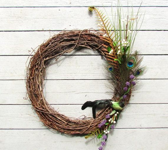 Peacock Wreath, Feather Grapevine Wreath, Grapevine Wreath, Bird Wreath