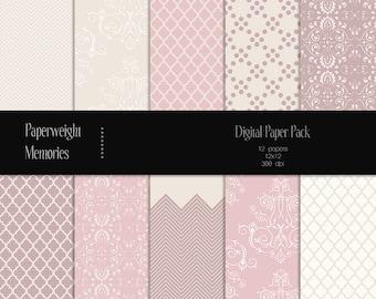 Romantic Evening -digital patterned paper -  Instant Download - digital scrapbooking - patterned paper - CU ok