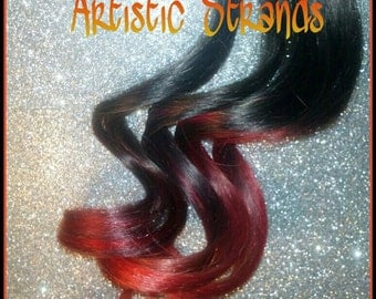 Girl On F I R E / Ombre Hair Extension -   Thick Full Set Weft Clip Extensions - RED Ombre-18 inch hair / Red