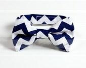 Boy's Bow Tie, Newborn, Baby, Child- Navy Blue, White, Chevron (2-3 Business Day Processing)