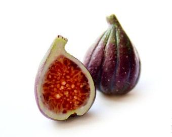 FREE SHIPPING - Figs Stud Earrings - Small Ear Studs - Earrings Post - Food Jewelry