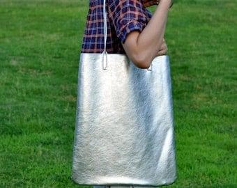Leather Tote Bag Shoulder Bag-Color silver