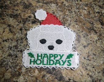 Embroidered Magnet - Happy Holidays  -  Dog