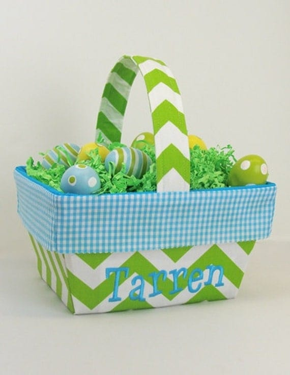 Personalized Fabric Lined Easter Basket Lime Chevron With