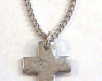 Pewter Hammered Cross Charm on a Link Chain Necklace- 3371