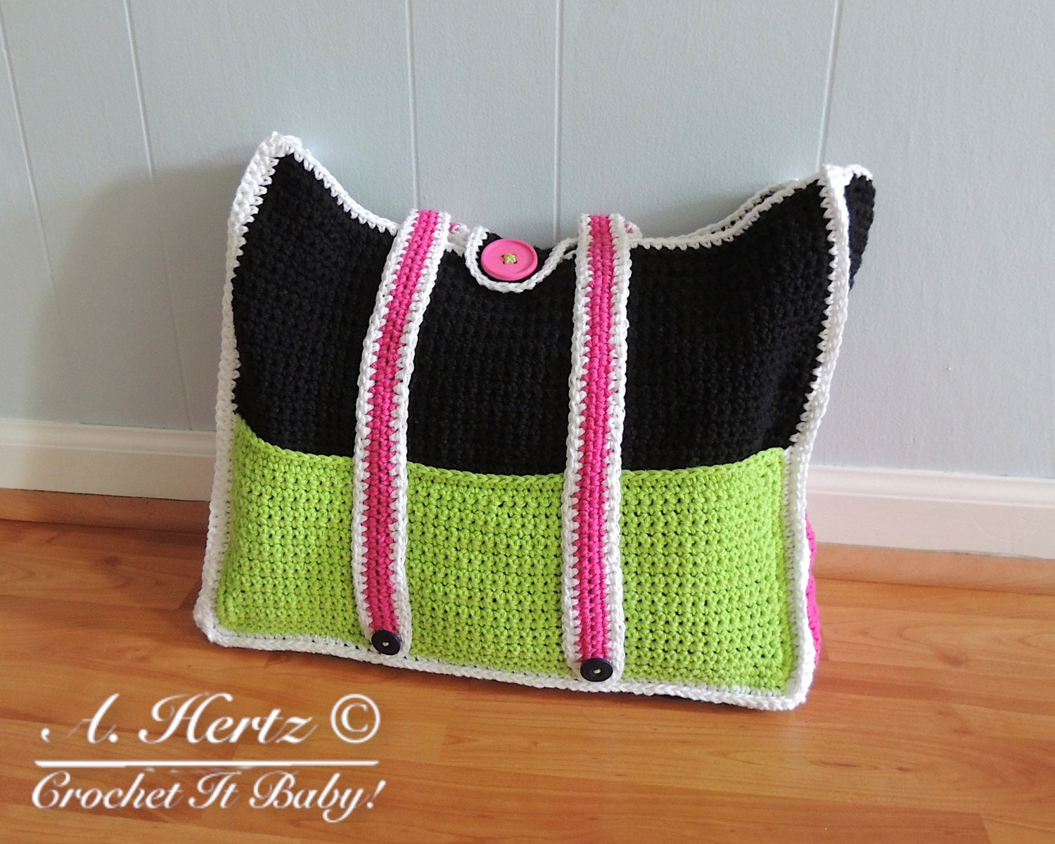 Crochet Bag With Pockets Pattern : Crochet Summer Tote Bag with pockets PATTERN ONLY