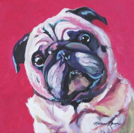Pug Pop Art Pet Portrait Dog Portrait Pink Painting