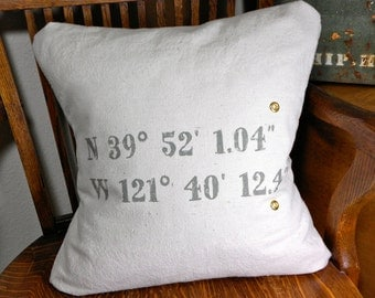 Decorative Pillow Covers Custom Printed with your GPS for any location Latitude and Longitude gift for geocacher housewarming gift