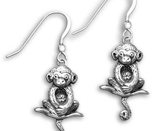 Sterling Silver Sitting Monkey Earrings