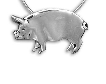 Sterling Silver Pig Pin Pendant