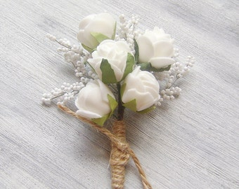 groomsmen wedding boutonniere, Wedding Accessory for Groom, Prom , mens wedding boutonniere, White Roses and baby's breath of seed beads